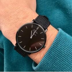 Montre nylon tressé noir